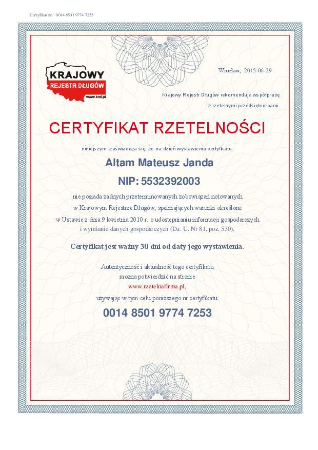 Certyfikat Rzetelnosci Altam Mateusz Janda [PL]-page-001
